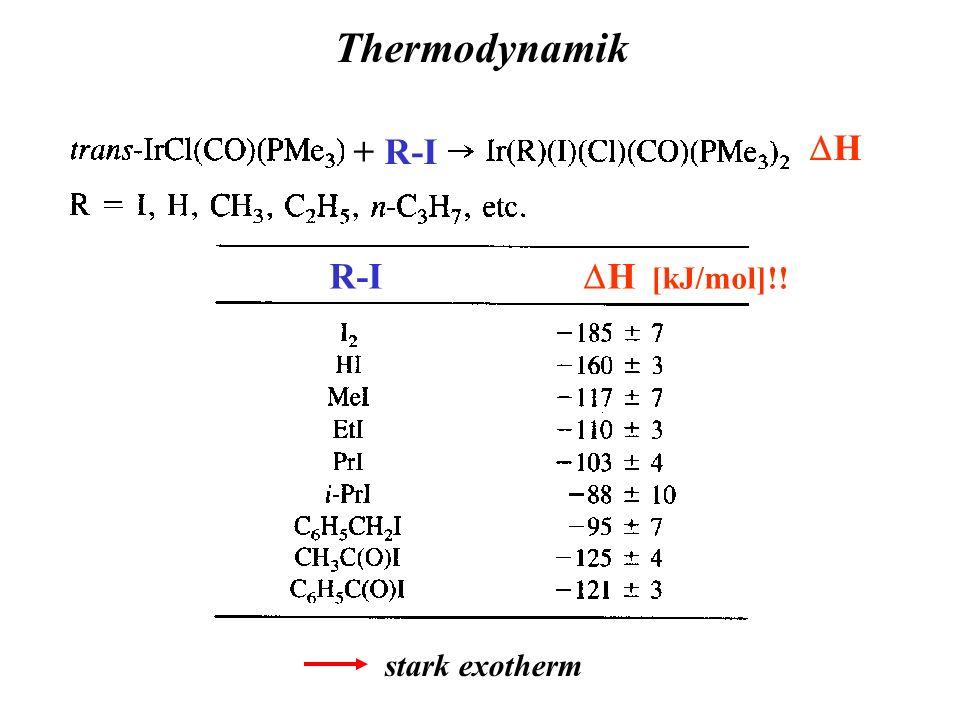 Thermodynamik + R-I DH R-I DH [kJ/mol]!! stark exotherm